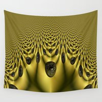 globe Wall Tapestries featuring Golden Glow Globe Fractal by Bella Mahri-PhotoArt By Tina