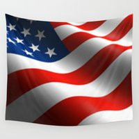 patriotic Wall Tapestries featuring Patriotic US Waving Flag  by Barrier Style & Design