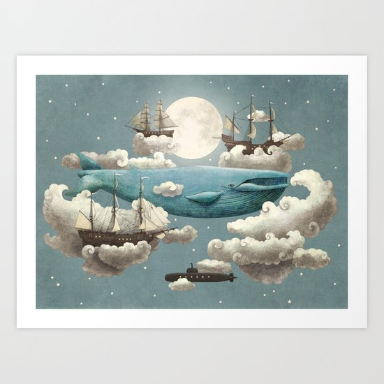 Ocean Meets Sky - colour option Art Print