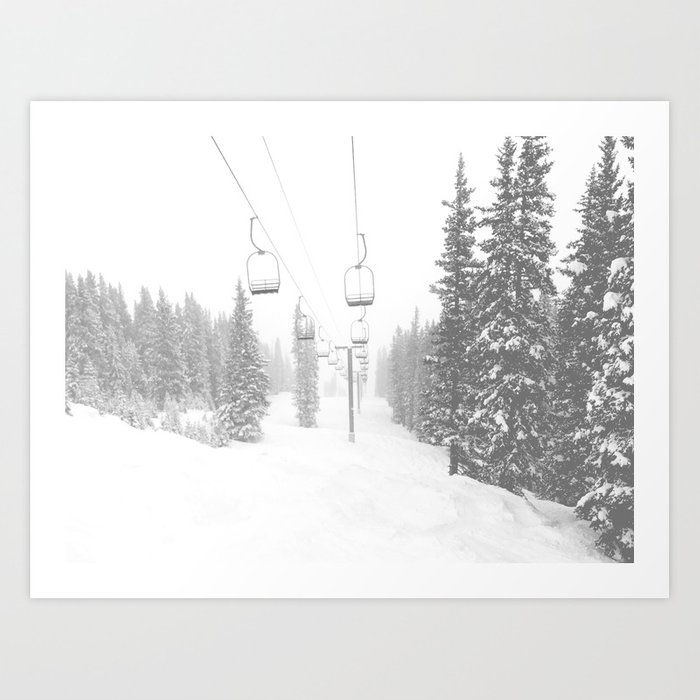 Empty Chairlift // Alone on the Mountain at Copper Whiteout Conditions Foggy Snowfall Kunstdrucke