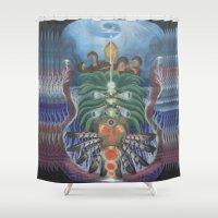 teacher Shower Curtains featuring Ocean Teacher by MANASPHERE studio