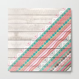 Andes Tribal Aztec Coral Teal Chevron Wood Pattern Metal Print