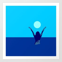 Blue sky and moon is calling me.. Art Print