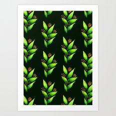 Abstract Watercolor Green Plant With Orange Berries Art Print
