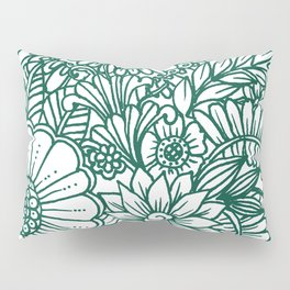Hand drawn forest green white modern floral Pillow Sham