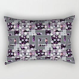 Abstract bright floral pattern on gray,black background with decorative elements Rectangular Pillow