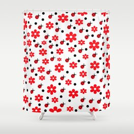 Ladybugs and Daisies Shower Curtain