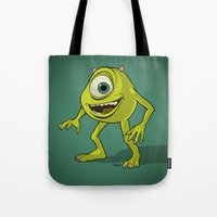 monsters inc Tote Bags featuring Monsters, Inc. | Mike Wazowski by Brave Tiger Designs