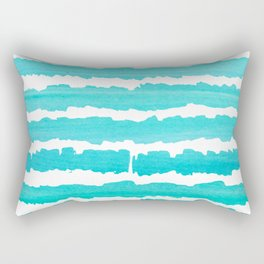 Maritime pattern- Simply aqua handpainted stripes on clear white- horizontal Rectangular Pillow