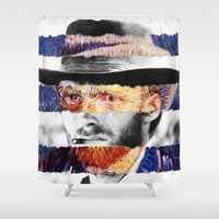 clint eastwood Shower Curtains featuring Van Eastwood by Luigi Tarini