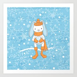 Bunny and Snowflakes_3 Art Print