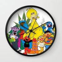 sesame street Wall Clocks featuring Sesame Street Stoners by Instrum