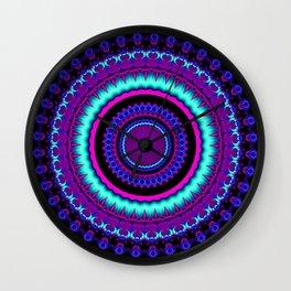 turquoise purple Mandala Wall Clock