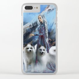 Snow Queen Snowflakes by K.M. Shea book cover Clear iPhone Case