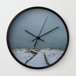 cloudy winter boardwalk Wall Clock