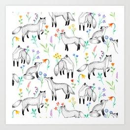 Fox Floral Art Print