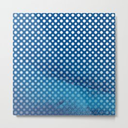 White polka dots and snorkel blue background with blur Metal Print