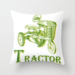 T is for Tractor Throw Pillow