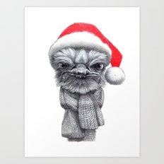 Christmas Ostrich red G145 Art Print