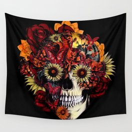 Full circle...Floral ohm skull Wall Tapestry