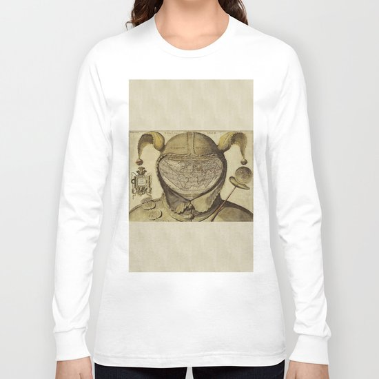 Vintage World Map - Fool's Cap Map of the World Long Sleeve T-shirt