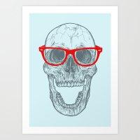 Smart-Happy Skully Art Print