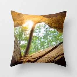 Sunshine in a Dark Cave Throw Pillow