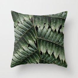 Botanical leaves, Silver Tree Fern - Plant Photography Art Print Throw Pillow