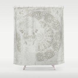 Ghostly alpaca and mandala Shower Curtain