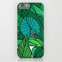 Jungle Leaves Illustrated in White iPhone Case
