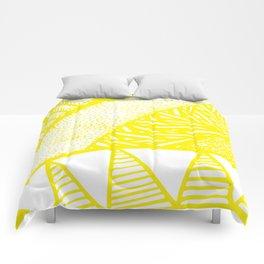 Free Hand Zesty Lemon Doodle Design Comforters