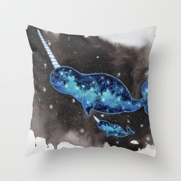 """Galaxy Narwhals"" drifting in space watercolor illustration Throw Pillow"
