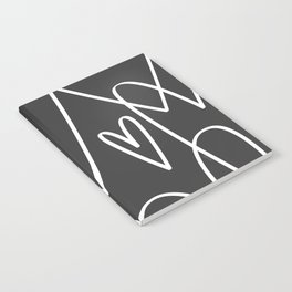 Doodle Hearts in Black by Friztin Notebook