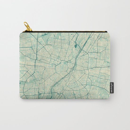 Munich Map Blue Vintage Carry-All Pouch
