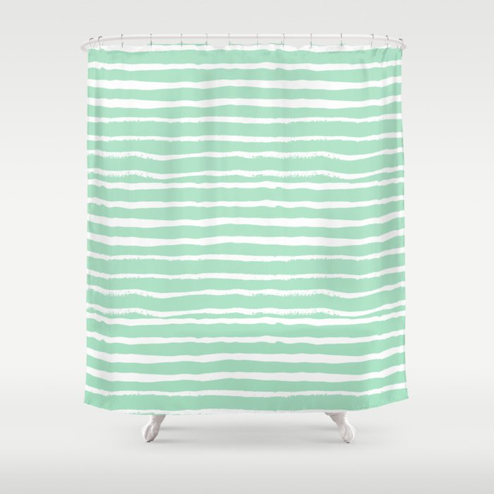 Mint Stripes Painted Stripe Pattern Minimal Nursery Gender Neutral Shower Curtain By Charlottewinter