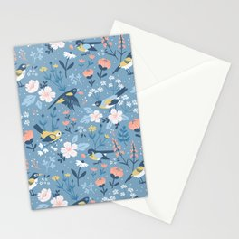 Birds & Blooms (Blue) Stationery Cards