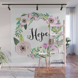 Hope Lettering Watercolor Ilustration Wall Mural