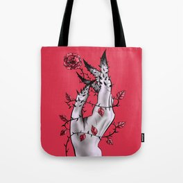Creepy Deformed Hand With Rose And Thorns   Digital Art Tote Bag