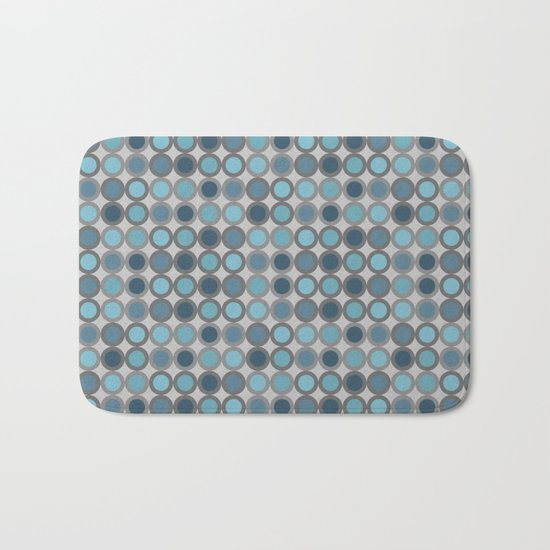 Grey blue circle 6 Bath Mat