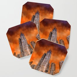 City in sunset Coaster