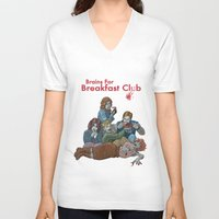 breakfast club V-neck T-shirts featuring Brains for Breakfast Club (white) by Ayota Illustration