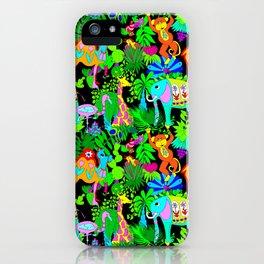 60's Groovy Zoo in Black iPhone Case
