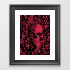 Gothic Lace Skull in red and black. Framed Art Print