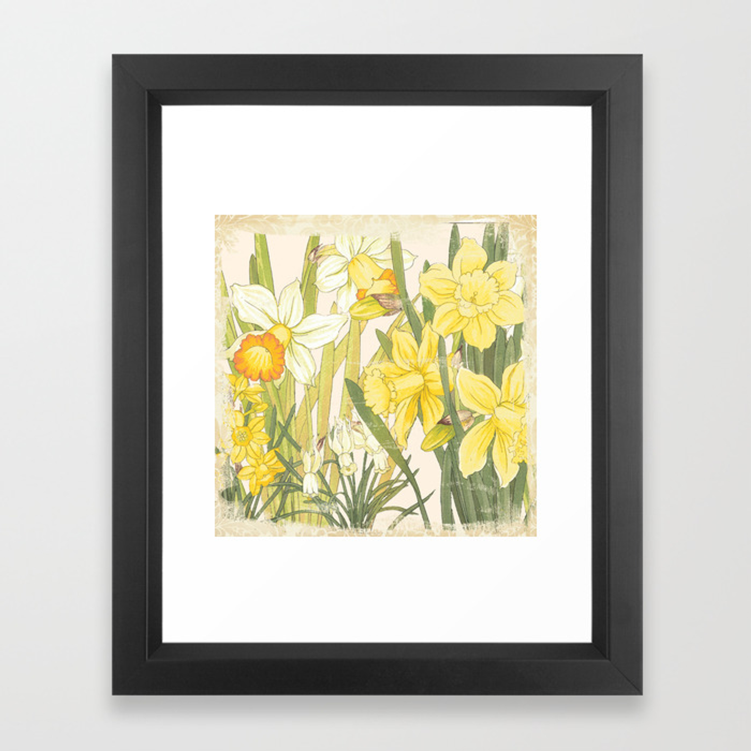 Vintage Floral Paper Spring Flowers On Shabby White Daffodils