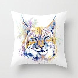 Bobcat Head Throw Pillow