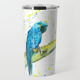Parrot (Hyacinth Macaw) - Watercolor Painting Travel Mug