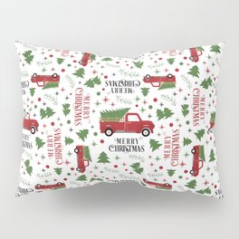 Merry Christmas Red Vintage Truck with Tree Pillow Sham