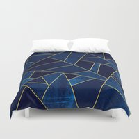 stone Duvet Covers featuring Blue stone with yellow lines by Elisabeth Fredriksson