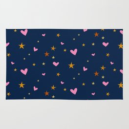 Heart and star pattern, pink and dark blue. Rug