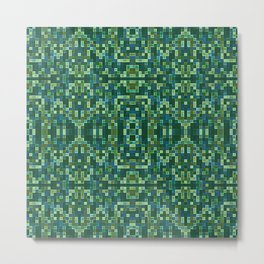Forest Green & Teal Mosaic Metal Print